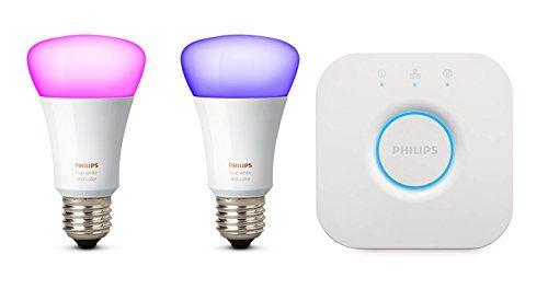 2 bombillas inteligentes phillips hue luz rosa y azul con controlador para pared
