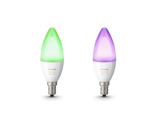 2 bombillas philips hue google home luz verde y lila