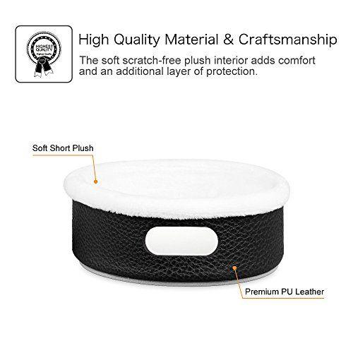 FINTIE - Carcasa Protectora de Piel negra para Amazon Echo Dot