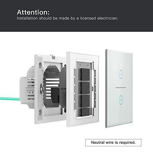 interior interruptor inteligente wifi gremag con alexa y google home