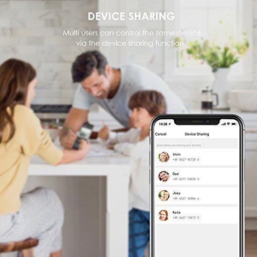 compartir control de dispositivos con app del enchufe inteligente teckin